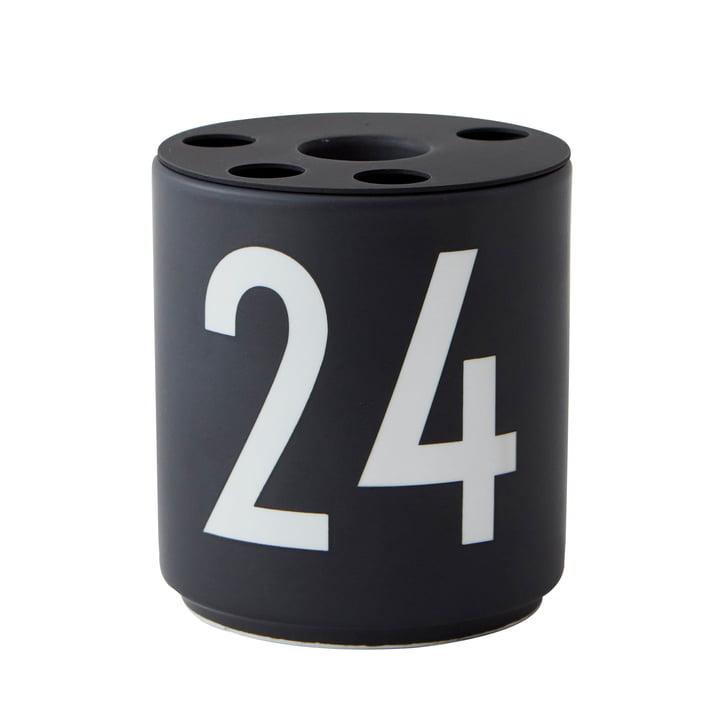 """Porcelain candle holder, """"24"""" / black from Design Letters"""