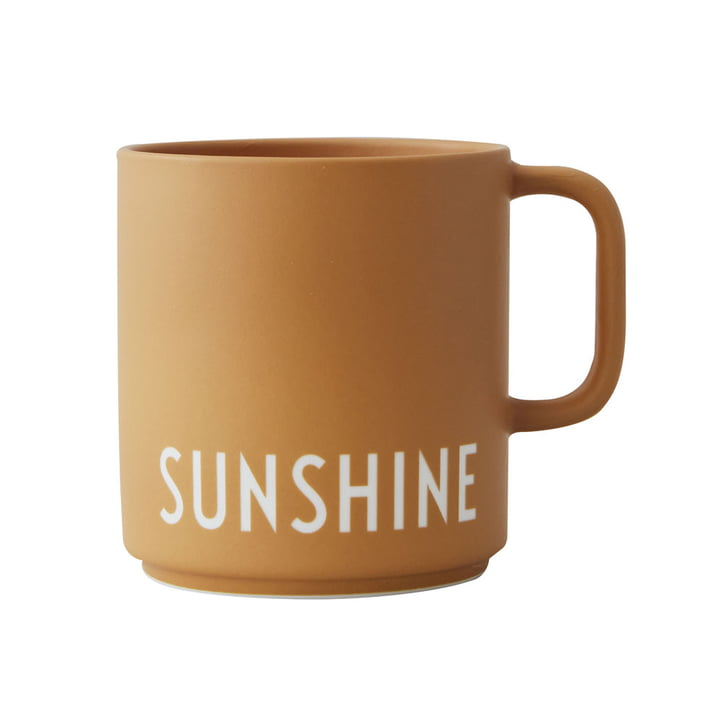 The AJ Favourite porcelain mug from Design Letters in Sunshine / mustard