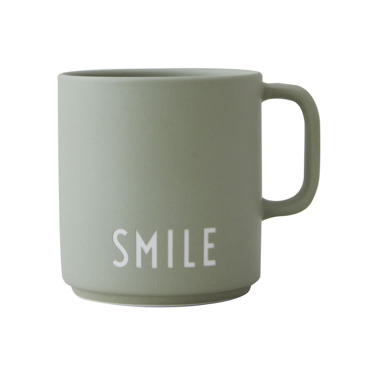 The AJ Favourite porcelain mug from Design Letters in Smile /green