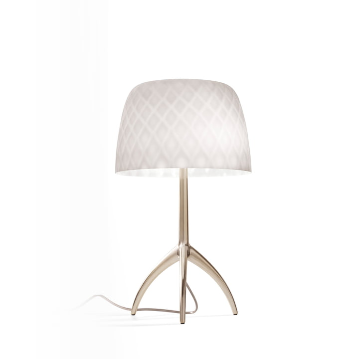 The Lumiere 30th piccola table lamp from Foscarini in champagne / pastilles