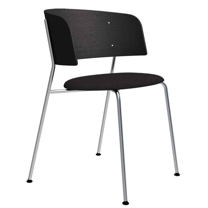 The Wagner armchair from Objekte unserer Tage in chrome / oak black lacquered / Mainline Flax (anthracite)