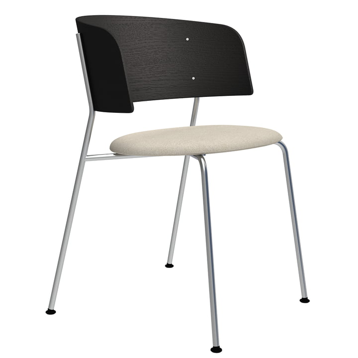 The Wagner armchair from Objekte unserer Tage in chrome / oak black lacquered / Mainline Flax (beige)