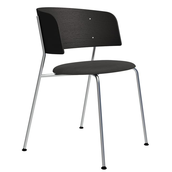 The Wagner armchair from Objekte unserer Tage in chrome / oak black lacquered / leather Dunes grey