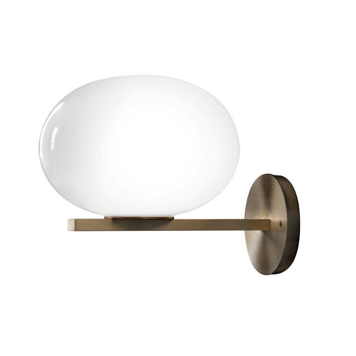 Alba wall lamp 176 from Oluce in opal glass / brass