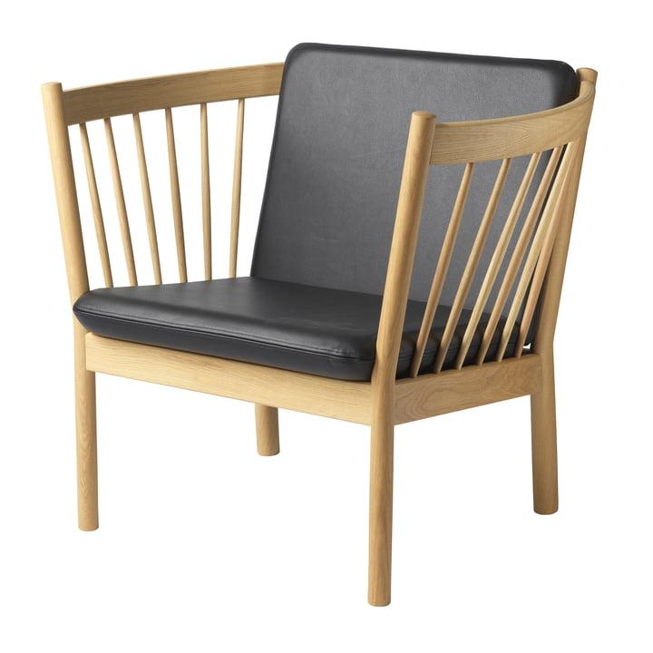FDB Møbler - J146 Lounge armchair, natural oak / black leather