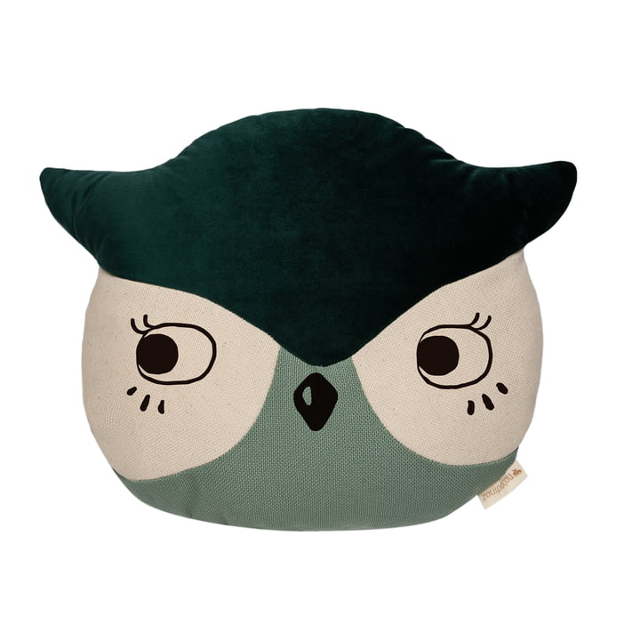 The Owl Pillow by Nobodinoz in eden green