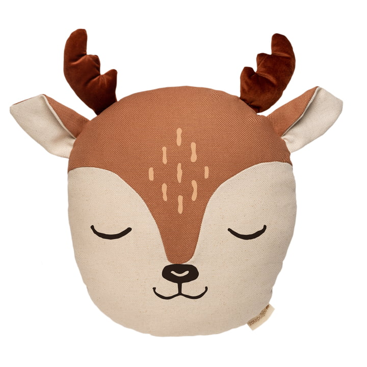 The Deer Pillow by Nobodinoz in sienna brown