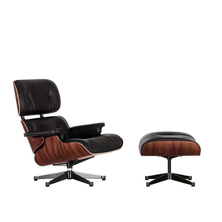 Lounge Chair & Ottoman from Vitra in the polished version / sides black, Santos rosewood, leather Premium F nero (new dimensions)