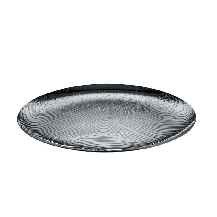 The Veneer tray from Alessi in stainless steel with relief decor