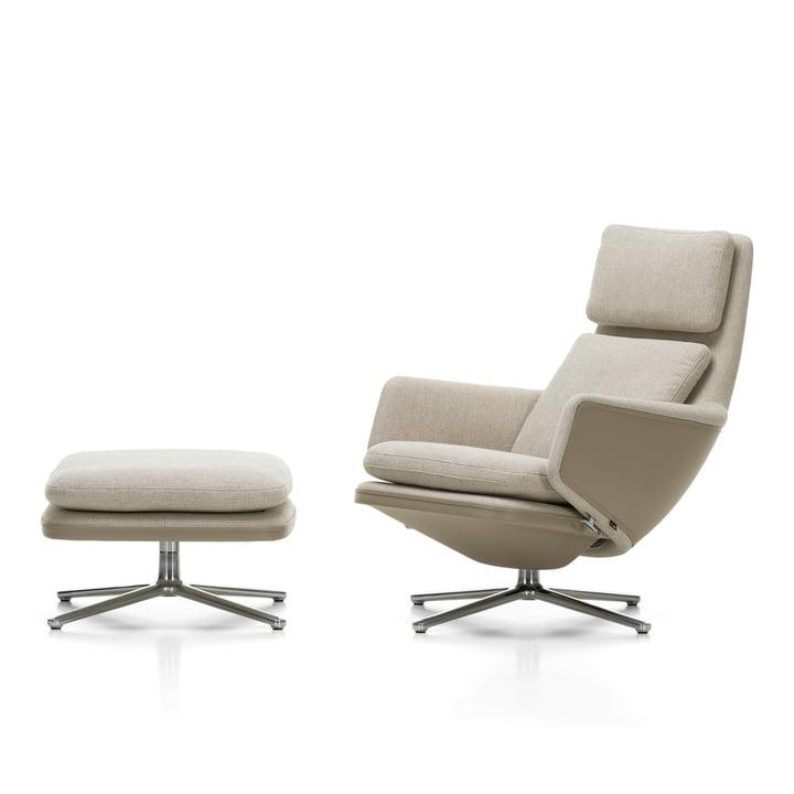 Grand Relax Armchair & Ottoman, polished aluminium, leather Premium F sand / Corsaro (05 Stone Melange ) by Vitra