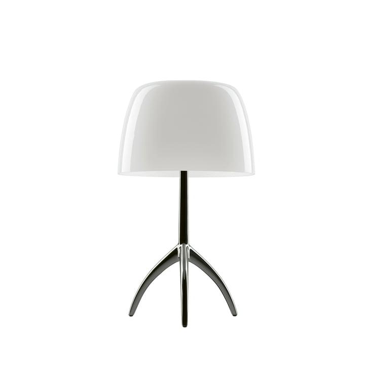 The Lumiere 05 piccola table lamp G9 from Foscarini in aluminium / white