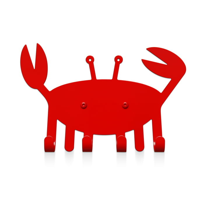 The little crab wall hook from vonbox in traffic red