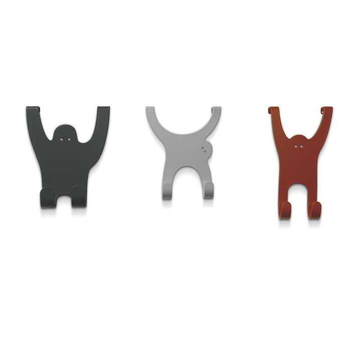 The vonbox monkey hooks in grey brown, silk grey and copper red (set of 3)
