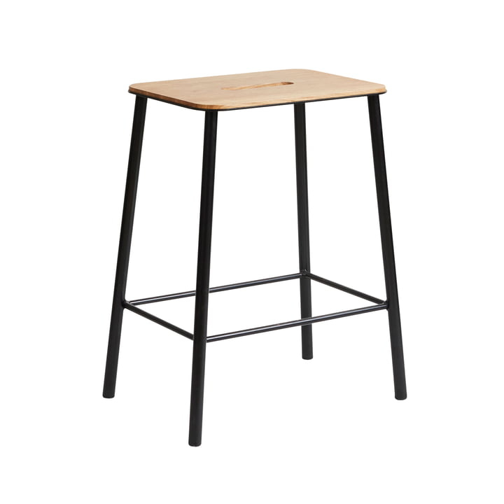 Adam Stool, H 50 cm, oak / black from Frama