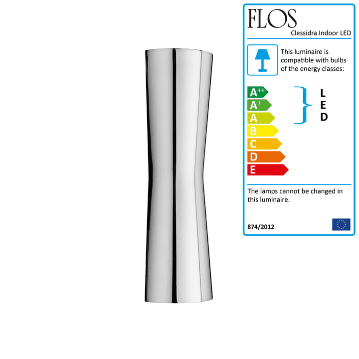 The Clessidra Indoor LED wall lamp 20° from Flos in chrome