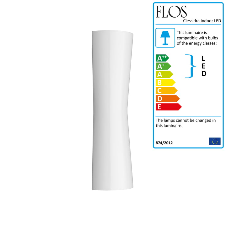 The Clessidra Indoor LED wall light 20° from Flos in white