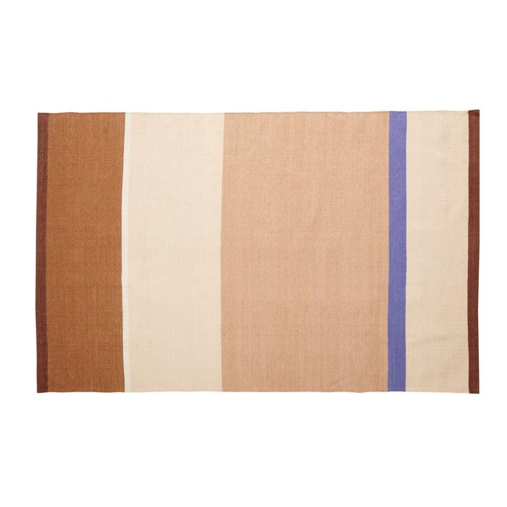 Striped carpet 120 x 180 cm, beige / sand / brown / blue from Hübsch Interior