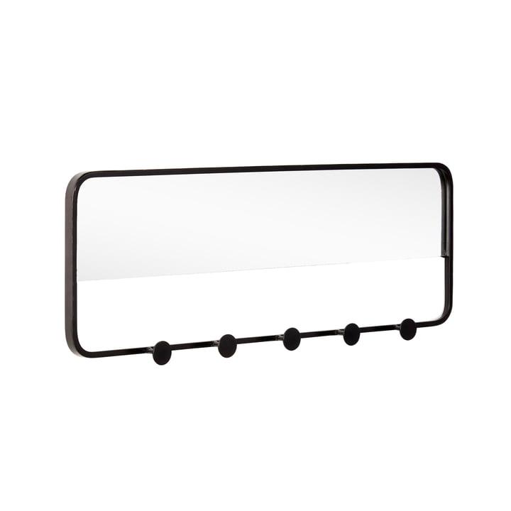 Coat rail with mirror, black from Hübsch Interior