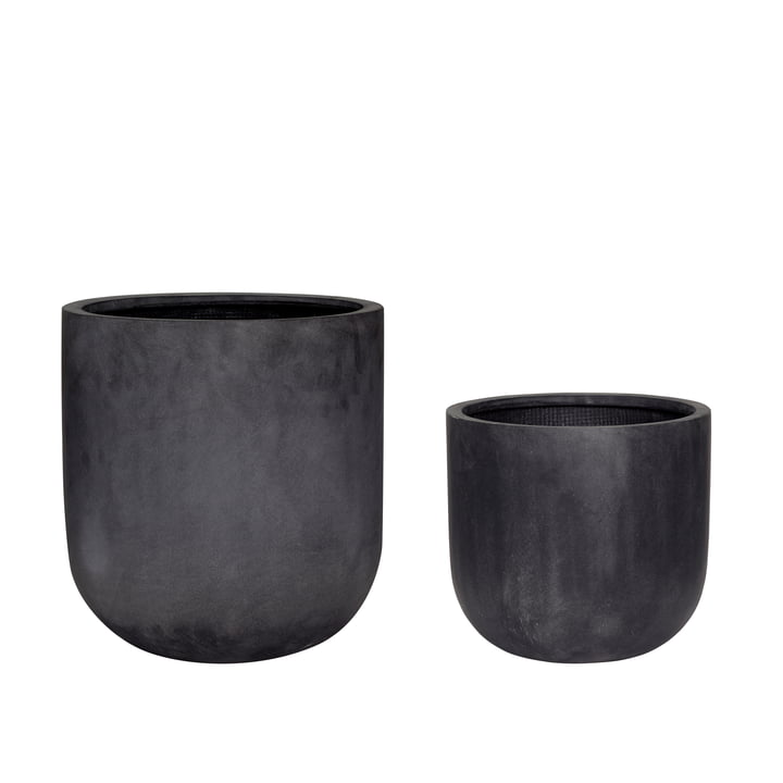 Fiberstone Plant pot set of 2, black from Hübsch Interior