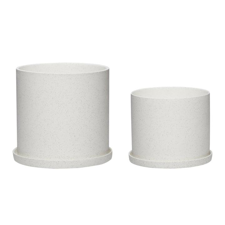 The flower pot set of 2 from Hübsch Interior in ceramic, white