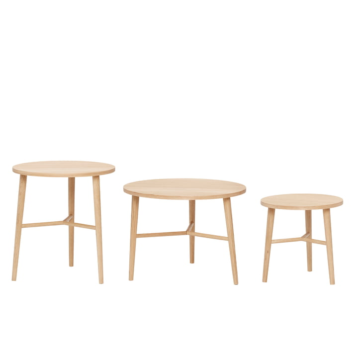 Side table set of 3, round, oak from Hübsch Interior