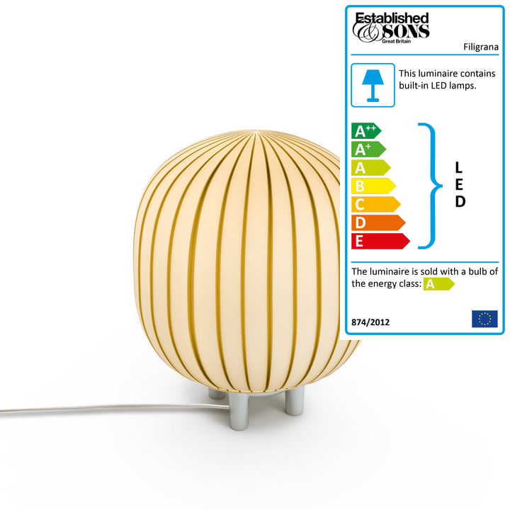 The Filigrana T2 Cylinder table lamp from Established & Sons in white / tobacco