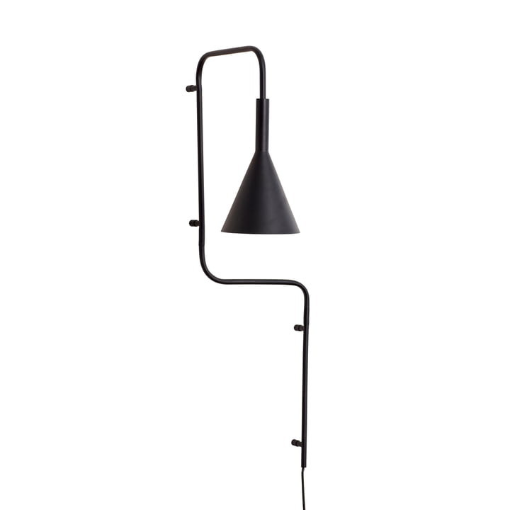 Metal wall lamp, black, high from Hübsch Interior