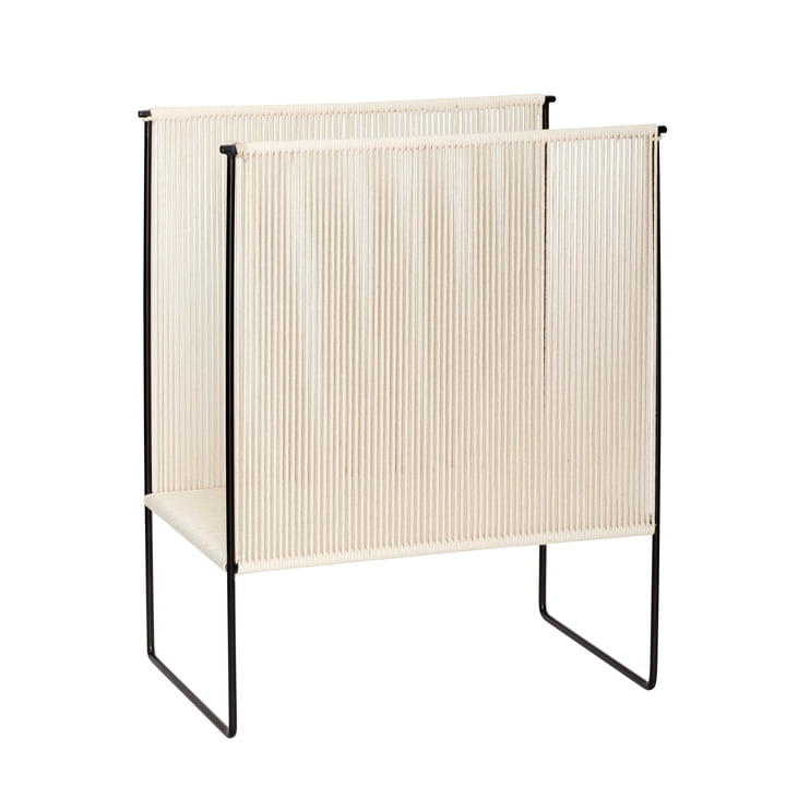Magazine holder, natural / black, large from Hübsch Interior