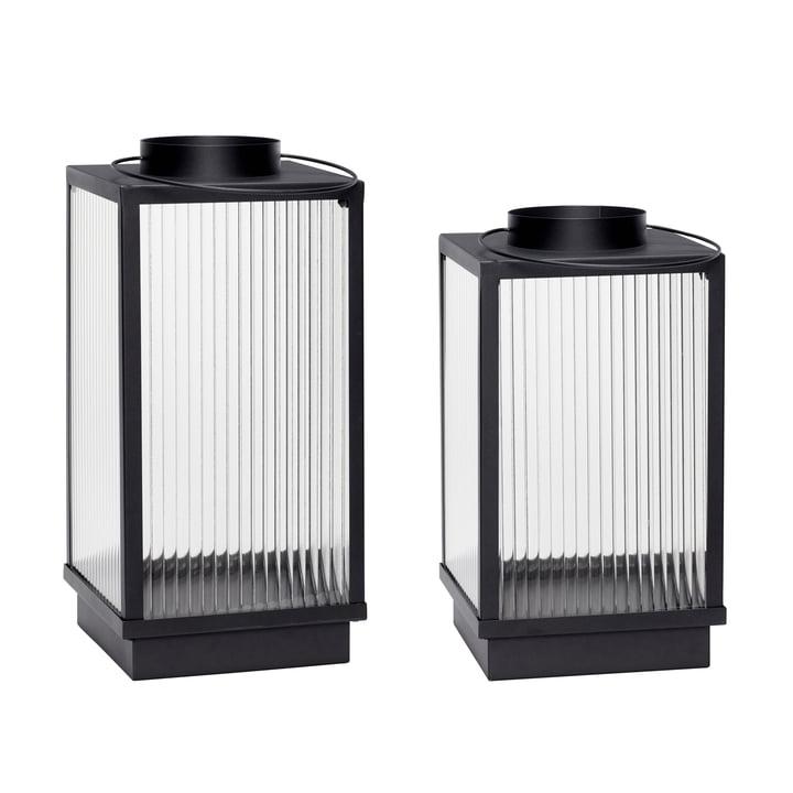 Lantern set of 2, black by hübsch Interior