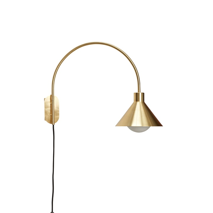 Brass wall lamp with shade from Hübsch Interior