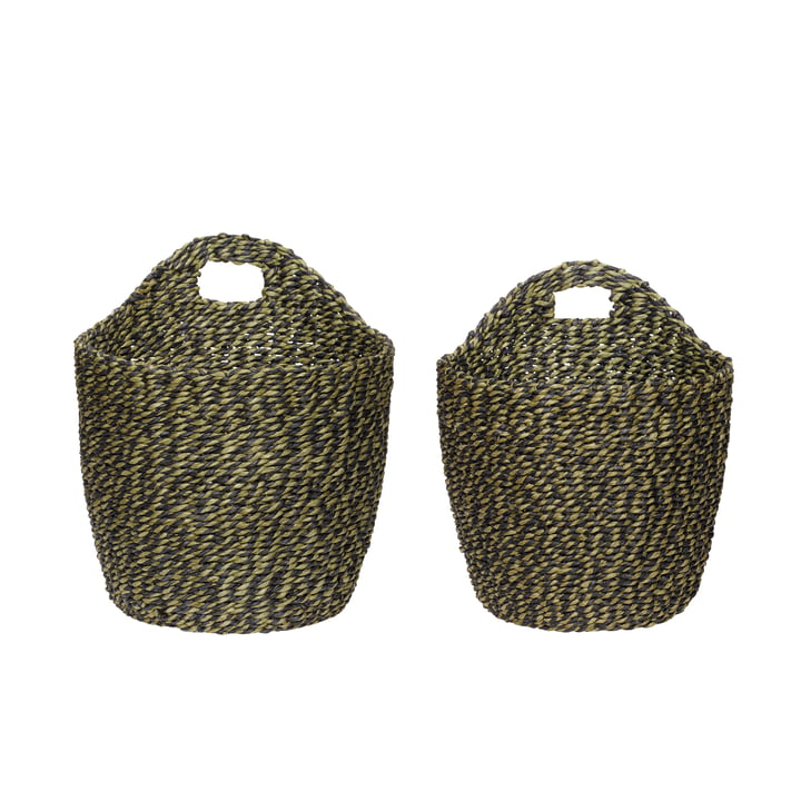 The wall basket set of 2 from Hübsch Interior in black / green