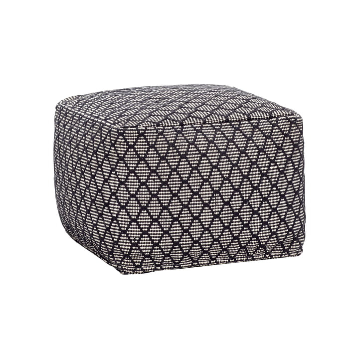 Pouf with pattern, black / white from Hübsch Interior