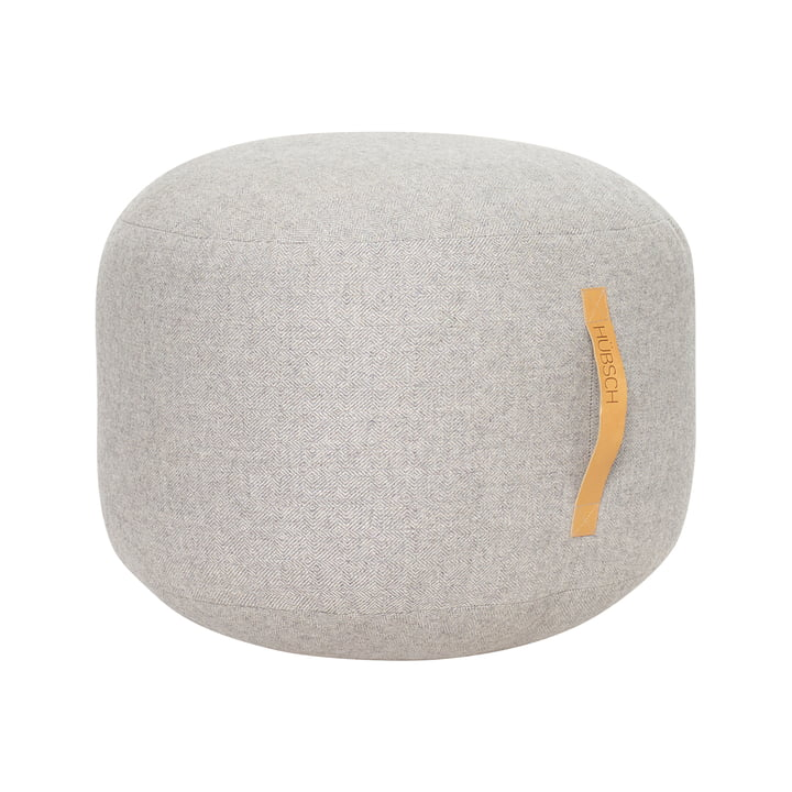 Pouf with leather handle Ø 50 cm, grey from Hübsch Interior