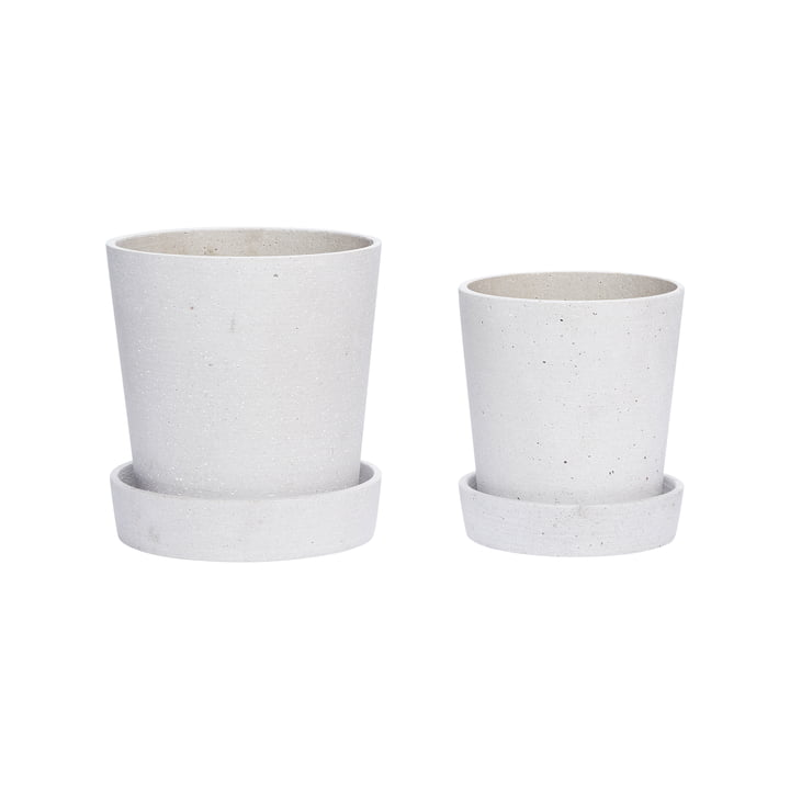 Plant pot with saucer set of 2, grey, small by Hübsch Interior