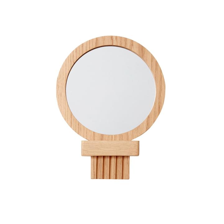 Mobile wall mirror Ø 16 cm, oak, natural from Hübsch Interior