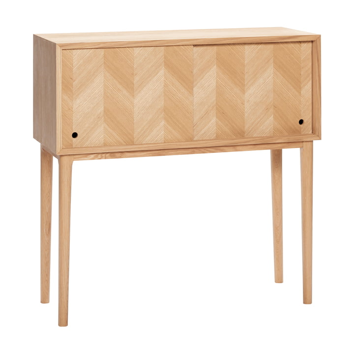 Commode with herringbone look and sliding doors, oak, natural from Hübsch Interior