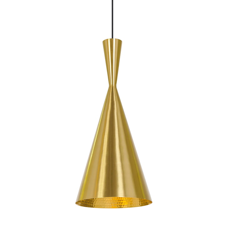 Beat Light Tall Pendant Lamp by Tom Dixon made of brass