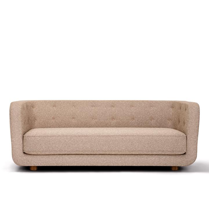 Vilhelm Sofa L 217 cm, oak / Bouclé (Zero 0001) / buttons Vegetal leather from by Lassen