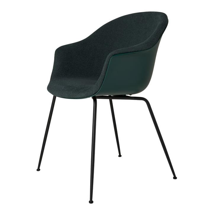 Bat Dining Chair upholstered (metal), black matt / light bouclé (028) by Gubi