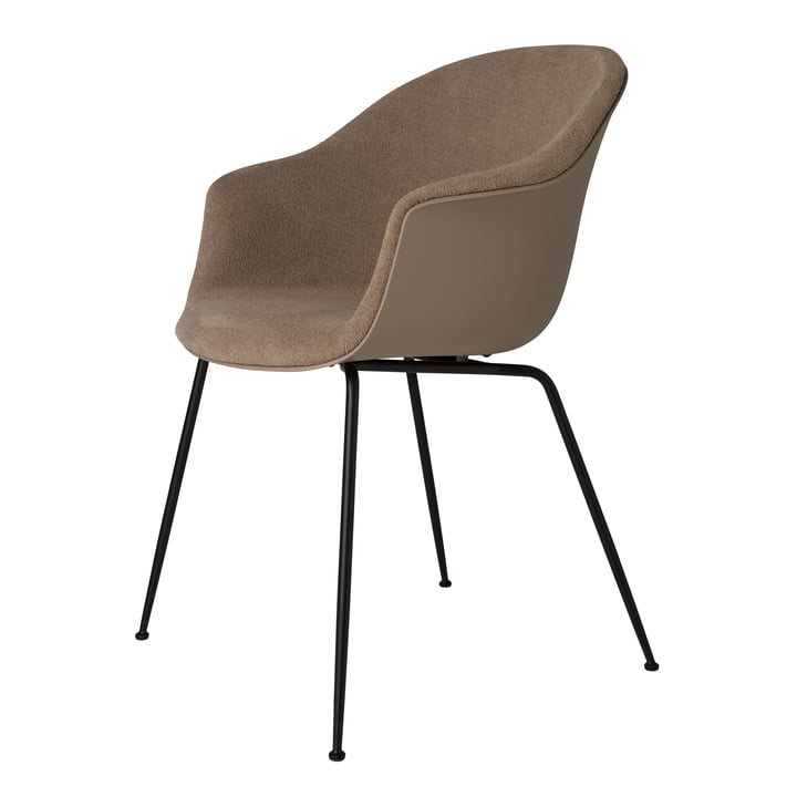 Bat Dining Chair upholstered (metal), black matt / light bouclé (003) by Gubi