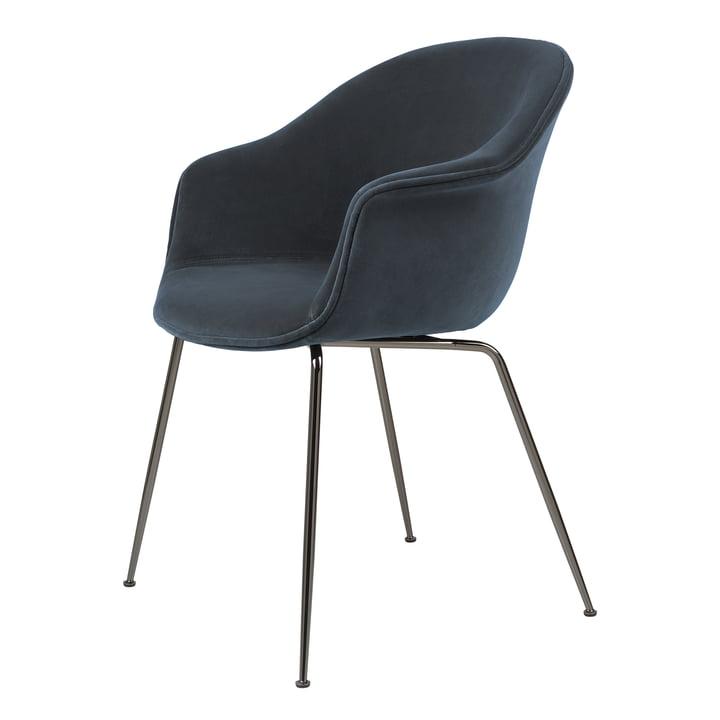 Bat Dining Chair upholstered (metal), black chrome / Ritz, Nevotex (0408) by Gubi