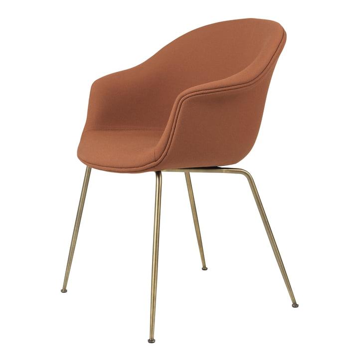 Bat Dining Chair upholstered (metal), antique brass / Fame, Gabriel (61131) by Gubi