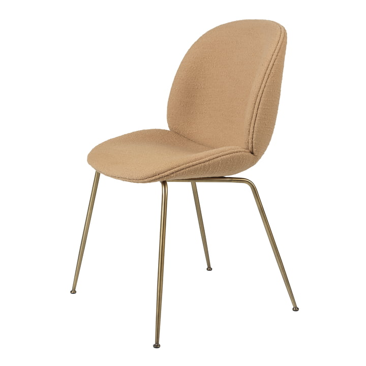 Beetle Dining Chair (upholstered), antique brass / Aurin, Backhausen by Gubi