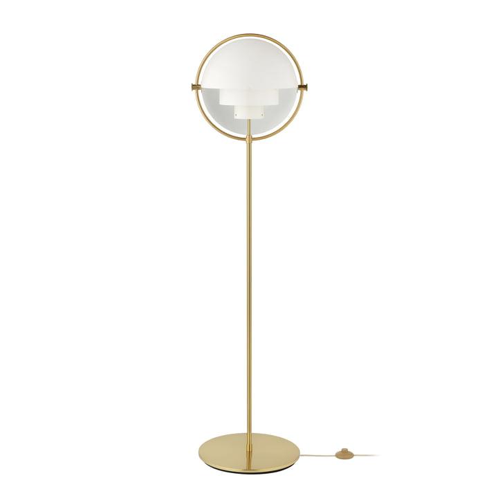 Multi-Lite Floor lamp, brass / matt white by Gubi