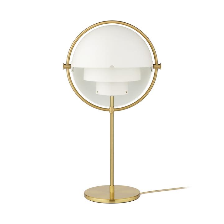 Multi-Lite Table lamp, brass / matt white by Gubi