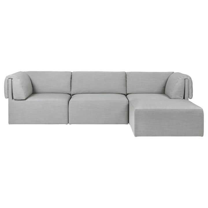 Wonder Sofa, 3-seater with Chaise Longue, Kvadrat Remix, grey by Gubi