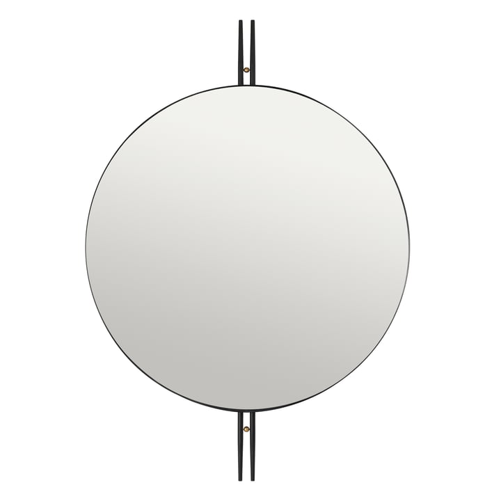 IOI Wall mirror, Ø 80 cm, black / brass from Gubi