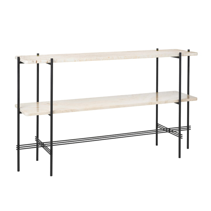 Travertine Console, 2 shelves, black / white from Gubi