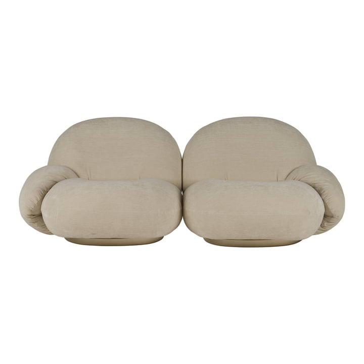 Pacha Sofa, 2-seater, pearl gold (Dedar Belsuede 007) by Gubi