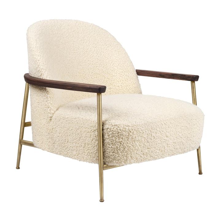 Sejour Lounge Chair with armrests, matt brass / walnut by Gubi